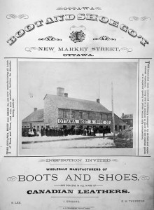 Shoe factories replaced the work of individual cobblers from mid-century, leading to large-scale production in a protected Canadian marketplace. Ottawa Boot & Shoe Company, 1875. William James Topley, Library and Archives Canada/C-002207.