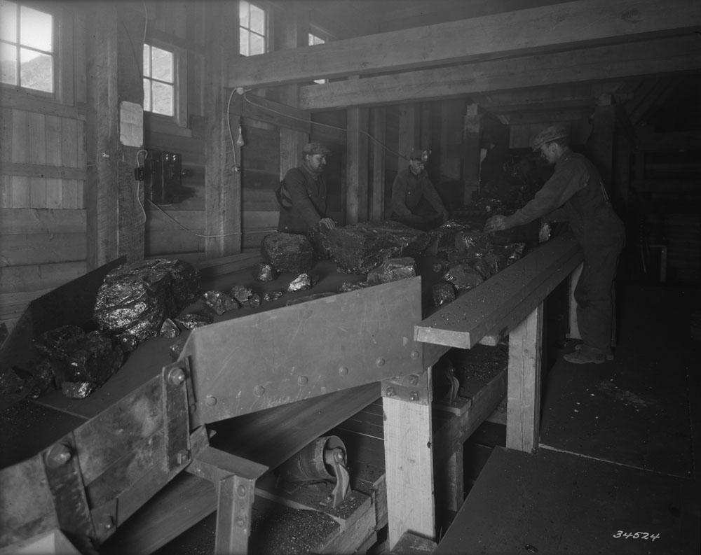 Men in overalls sort lumps of coal on a conveyor belt.