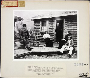Figure 4.15 Becoming more legendary by the minute, NWMP Superintendent Sam Steele (sitting, left) at midnight in the Yukon with friends. At the right is Henry Burstall, later a Major General and knighted as well. Library and Archives Canada / e008128889.
