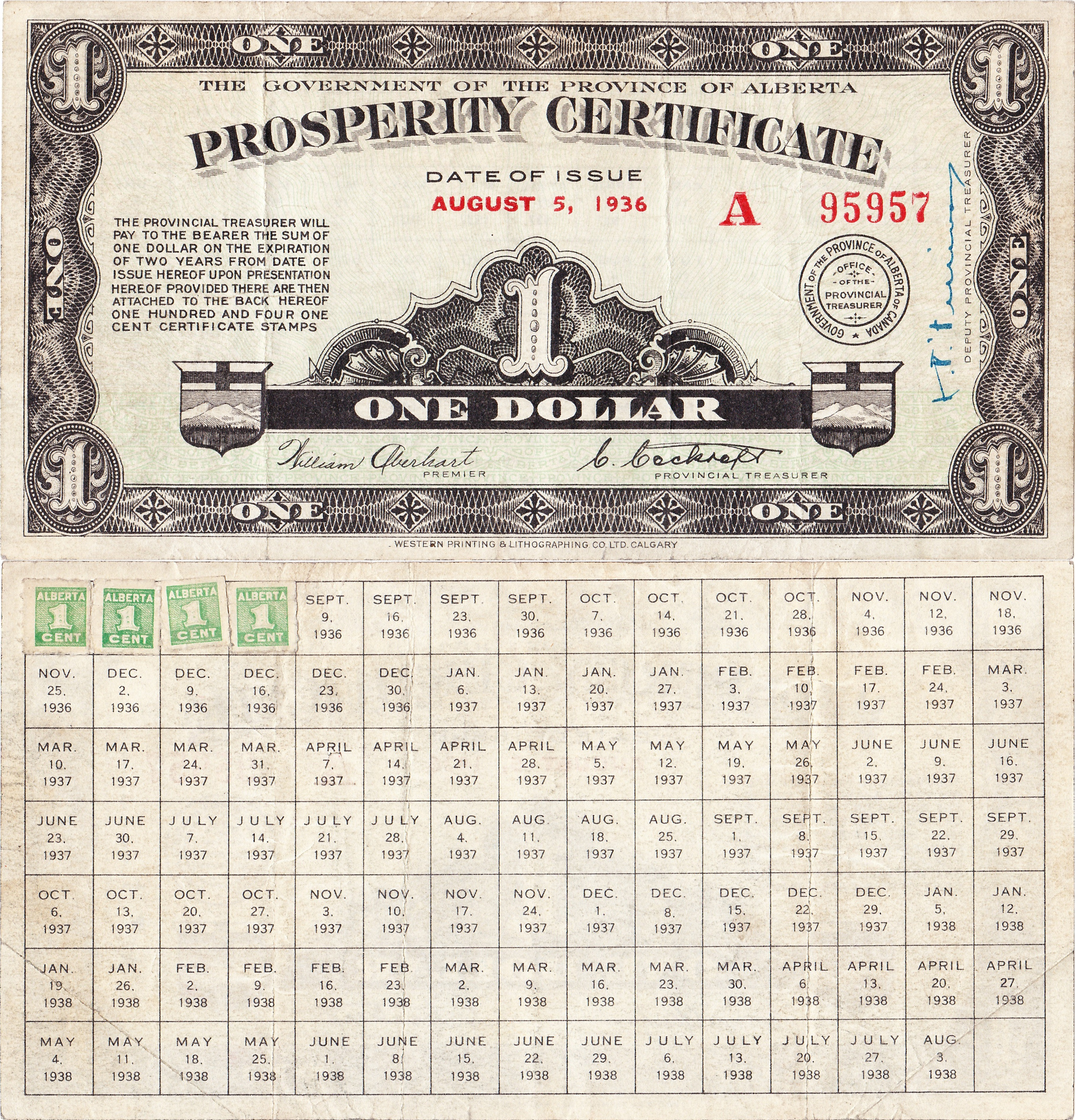 A dollar attached to a certificate with spaces for 104 stamps (weekly for two years).