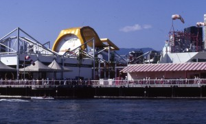The Swiss Pavilion dominates this view of Expo 86.