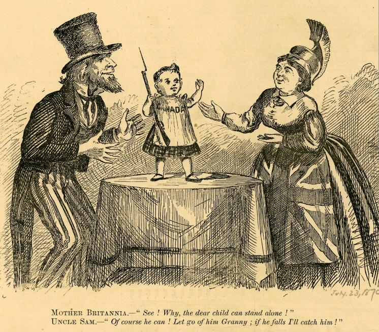 Infant Canada stands on a table. Uncle Sam and Britannia hold out their hands, ready to catch him.