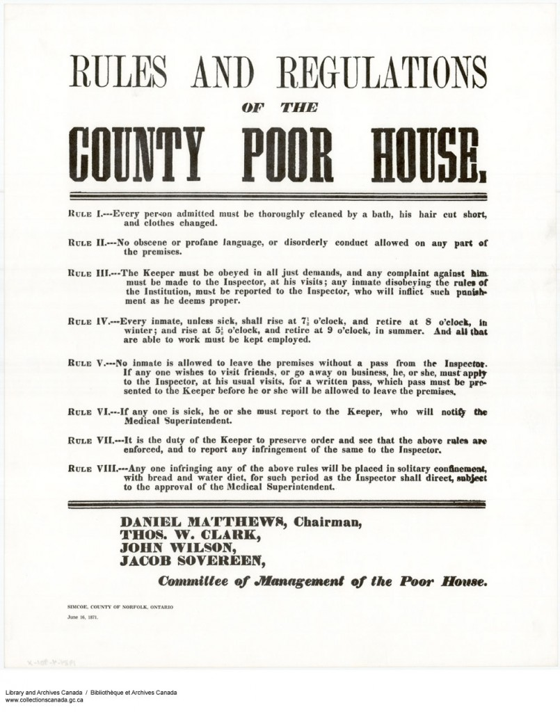 County poor house bulletin. Long description available.