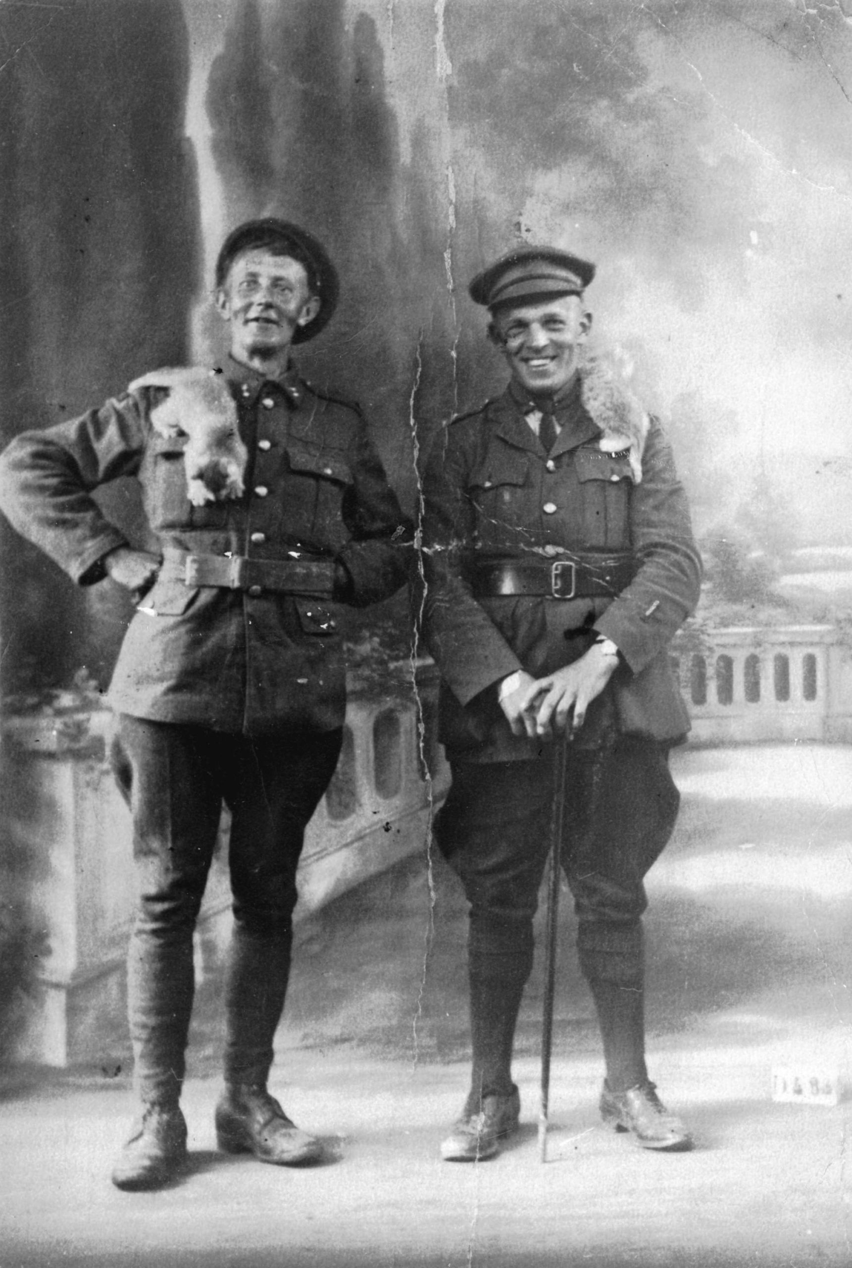 Two young men in military uniforms pose in a photo studio. Each has a cat on his shoulder.