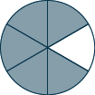 A circle is shown. It is divided into 6 equal pieces. 5 pieces are shaded.