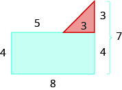 A geometric shape is shown. It is a blue rectangle with a red triangle attached to the top on the right side. The left side is labeled 4, the top 5, the bottom 8, the right side 7. The right side of the rectangle is labeled 4. The right side and bottom of the triangle are labeled 3.