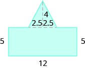 A blue geometric shape is shown. It looks like a rectangle with an equilateral triangle attached to the top. The base of the rectangle is labeled 12, each side is labeled 5. The base of the triangle is split into two pieces, each labeled 2.5.