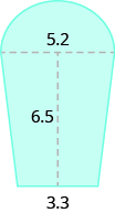 A blue geometric shape is shown. It appears to be two trapezoids with a semicircle at the top. The base of the semicircle is labeled 5.2. The height of the trapezoids is labeled 6.5. The combined base of the trapezoids is labeled 3.3.