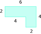 A geometric shape is shown. It is a horizontal rectangle attached to a vertical rectangle. The top is labeled 6, the height of the horizontal rectangle is labeled 2, the distance from the edge of the horizontal rectangle to the start of the vertical rectangle is 4, the base of the vertical rectangle is 2, the right side of the shape is 4.