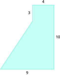 A geometric shape is shown. It is a rectangle with a triangle attached to the bottom left side. The top is labeled 4. The right side is labeled 10. The base is labeled 9. The vertical line from the top of the triangle to the top of the rectangle is labeled 3.