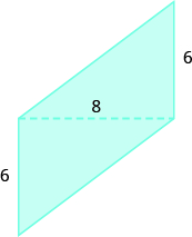 A geometric shape is shown. It appears to be composed of two triangles. The shared base of both triangles is 8, the heights are both labeled 6.