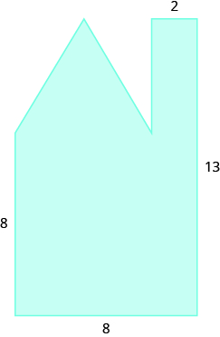 A geometric shape is shown. It is a rectangle with a triangle and another rectangle attached. The left side is labeled 8, the bottom is 8, the right side is 13, and the width of the smaller rectangle is 2.