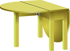 An image of a table is shown. There is a rectangular portion attached to a semi-circular portion. There is another semi-circular leaf folded down on the other side of the rectangle.