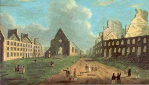 This painting shows debris scattered around the town and buildings that have been destroyed.