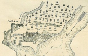 A drawing of the Fort de la Présentation which includes a cemetery, and walls.