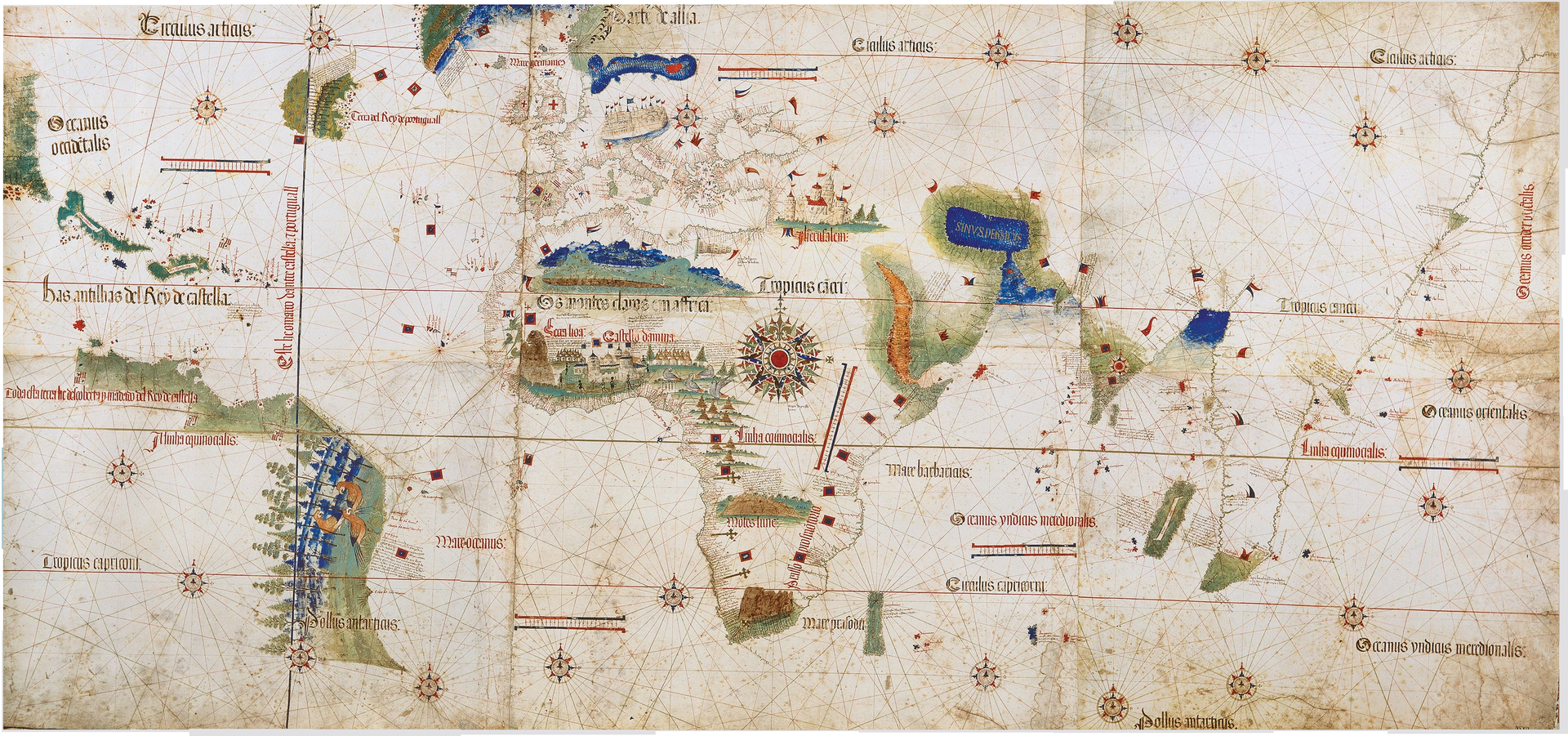33 the seafaring world of the 15th and 16th centuries canadian large sections of south america and islands in the caribbean added to an old world map gumiabroncs Image collections