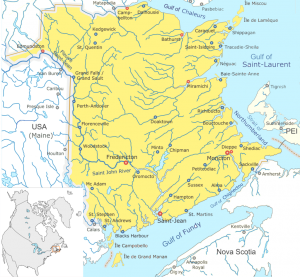 A map showing rivers that flowed into New Brunswick.