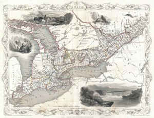 A map of Canada West. Around the map are pictures of beavers, Niagara Falls, and aboriginal people.