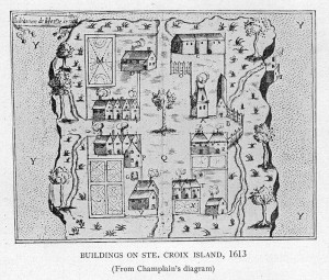 Map of a small settlement on Ste. Croix Island.