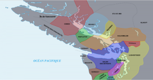 Aboriginal territories along the costal areas of Vancouver Island and the southern BC mainland coast