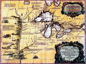 An old map showing the great lakes, rivers, and mountain ranges.