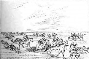 Horses carry people and pull supplies. Some dogs also are pulling supplies behind them.