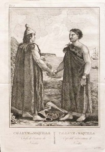 An engraving showing two men in long robes shaking hands.