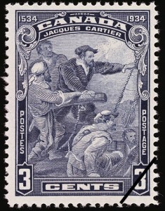 IA 1934 stamp. Cartier stands on his ship with his crew and urgently points to land.