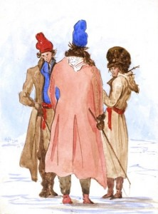 Three people stand in the snow, wearing long cloaks and toques.