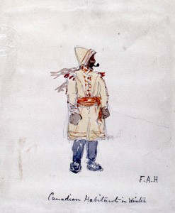 A man wears a long, thick cloak tied around his waist. He has gloves, a hat and scarf, and is smoking a pipe.