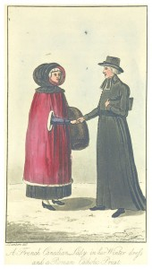 The man wears a longdress-like cloak and a hat. The woman also wears a long cloak that has a large hood and holes where she can reach her arms through.