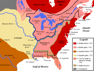 By 1763, British-controlled eastern North America