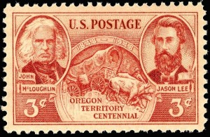 A US postage stamp celebrating the Oregon Territory Centennial.