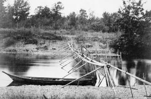 An aboriginal fishing weir. Long description available.