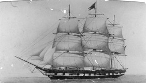 A large sailing ship.