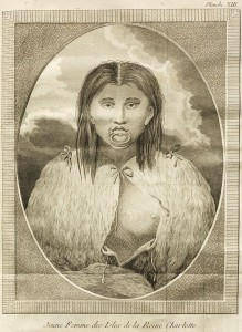 A Haida woman with a large lip ring.