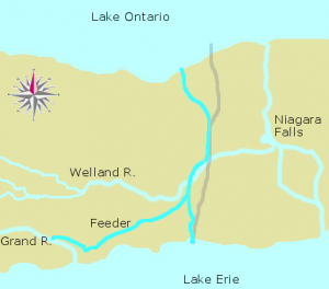 A canal connecting Lake Ontario to Lake Erie.