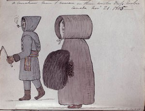 A man wears gloves, a long coat with a hood, boots, and carries an ice pick and is smoking a pipe. The woman wears a cloak that almost covers her feet. You can barley see her face in her hood.