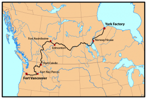 From York Factory, west to Edmonton, and south west to Fort Vancouver.