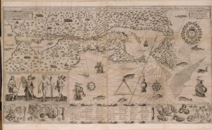 A detailed map with pictures of people, ships, and sea animals added.
