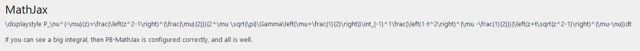 Unrendered LaTeX code on the MathJax settings page.
