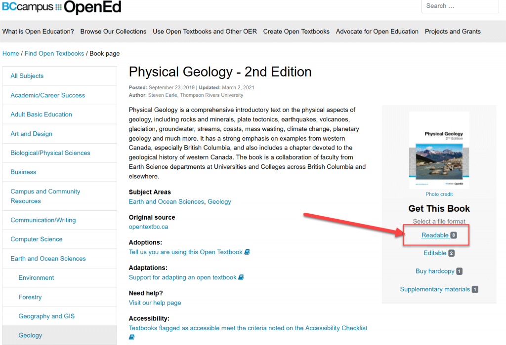 Screenshot of the book page from the BCcampus open textbook collection showing the location of the Readable formats link. In the screenshot the link is in a red box and located to the right of the screen just underneath the book cover.