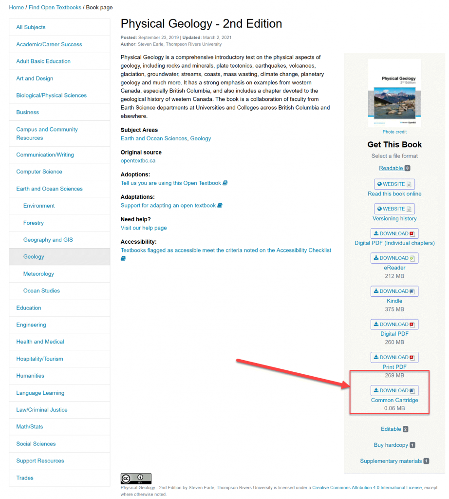 Screenshot showing the location of the Common Cartridge download button on the BCcampus open textbook website. The link is located on the right hand side of the page underneath the book cover image and is labelled Download Common Cartridge