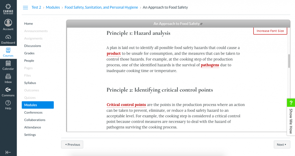 Screenshot of a Canvas course showing a Pressbooks book chapter embedded within the Canvas course shell