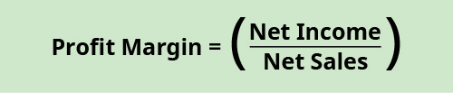Profit margin equals net income divided by net sales.