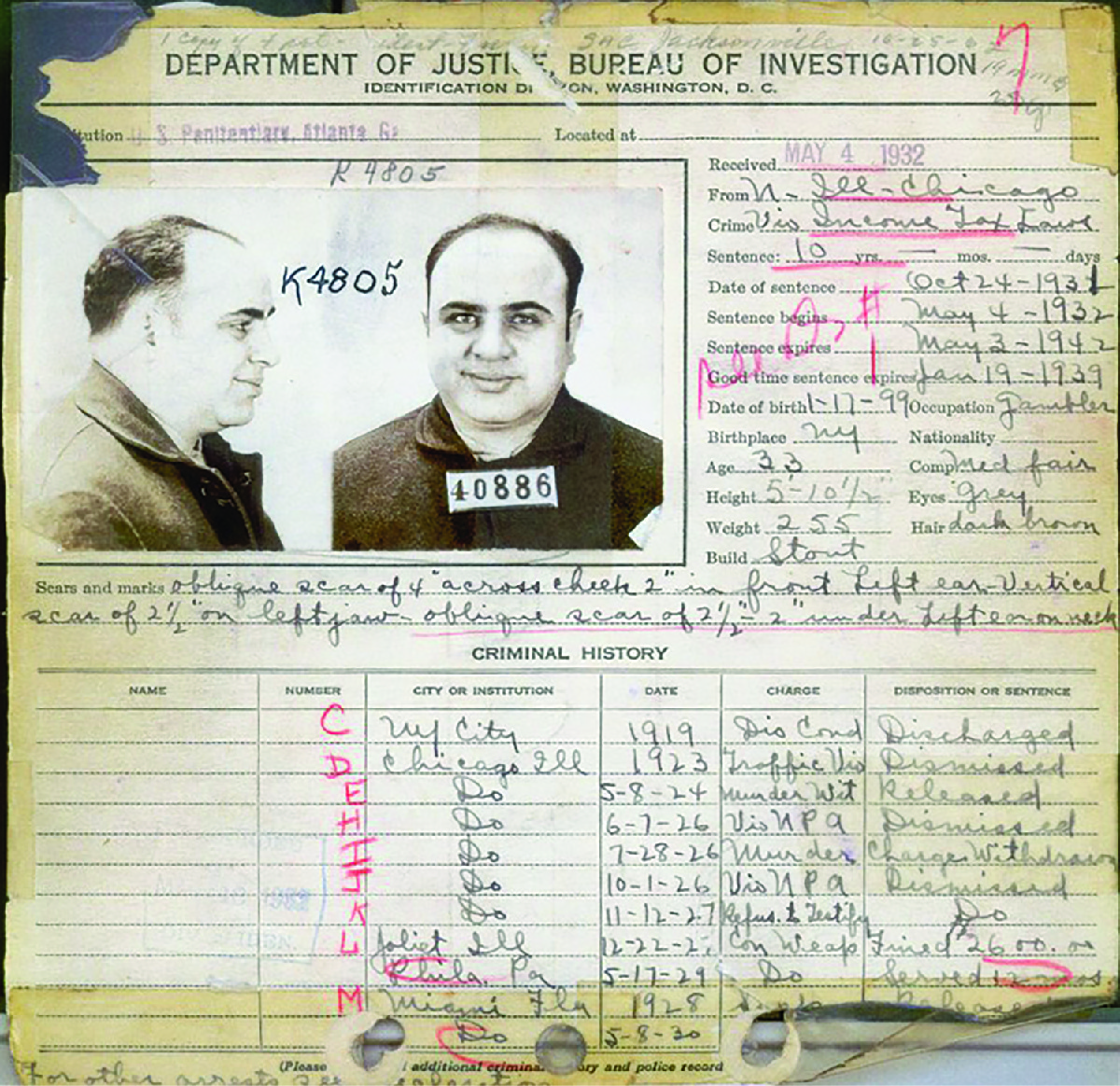 The FBI's 1932 criminal record on Al Capone shows the many charges against him, most of which were dismissed.