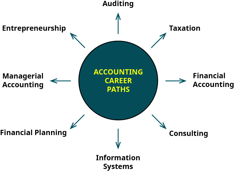 """A hub labeled """"Accounting Career Paths"""" with eight arrows pointing out of it to the following career paths: Auditing, Taxation, Financial Accounting, Consulting, Information Systems, Financial Planning, Managerial Accounting, Entrepreneurship."""