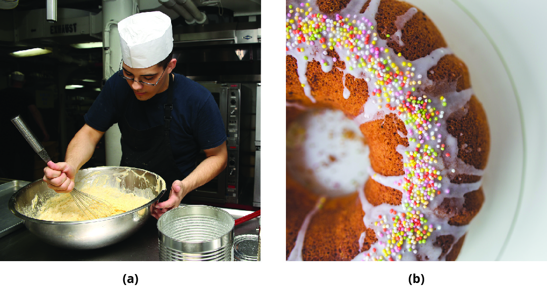 The photograph on the left is of a baker mixing dough. The photograph on the right is of a finished cake.