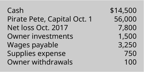 Prepare an Income Statement, Statement of Owner's Equity