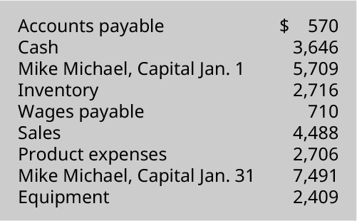 Accounts payable 💲570, Cash 3,646, Mike Michael capital January 1 5,709, Inventory 2,716, Wages payable 710, Sales 4,488, Product expenses 2,706, Mike Michael capital January 31 7,491, Equipment 2,409.